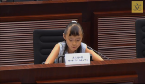 Belen Woo Fung, eleven-year-old student, addresses LegCo about sentience and compassion of elephants. Calls for support for the ivory ban.