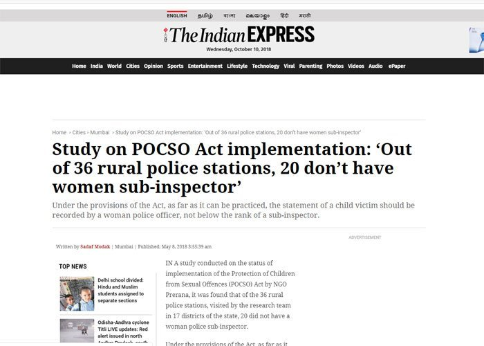 Study on POCSO Act implementation: 'Out of 36 rural police